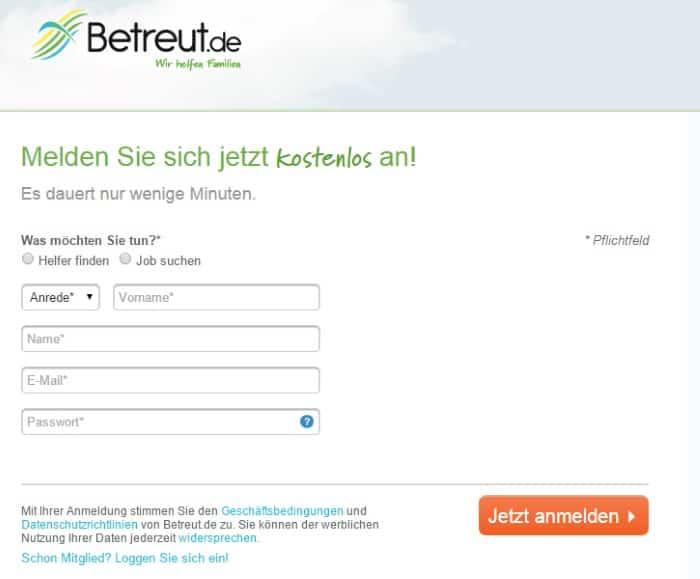 Betreut.de Registrierung