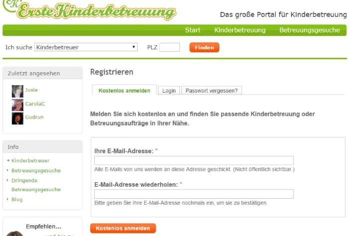 ErsteKinderbetreuung Registrierung